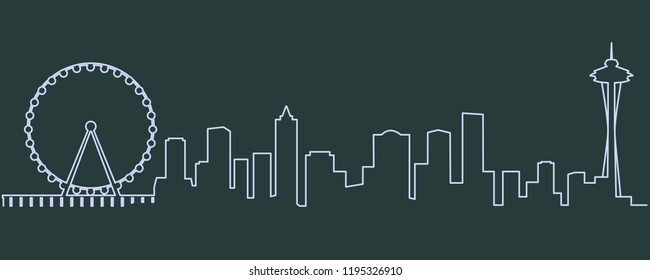 Seattle Single Line Skyline
