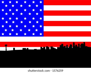 Seattle skyline against American Flag