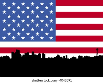 Seattle skyline with American flag illustration