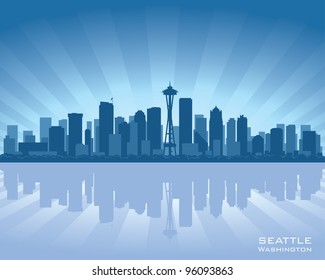 Seattle skyline illustration with reflection in water