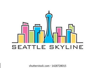 Seattle skyline logo template vector illustration