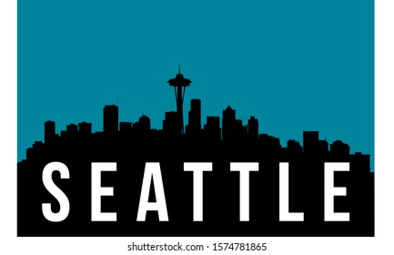 Seattle skyline silhouette background, vector illustration and flag in background