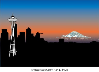 Seattle Skyline Silhouette with Space Needle and Mt. Rainier set against a beautiful blue and orange sky in the vector illustration captured from the famous Queen Anne location.