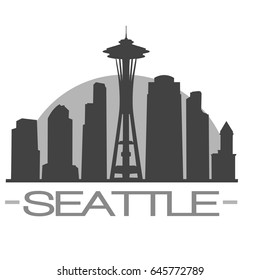 Seattle Skyline Silhouette Skyline Stamp Vector City Design