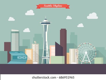 Seattle skyline vector illustration. Flat style design