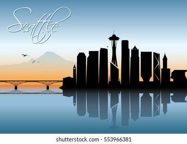 Seattle skyline - Washington - vector illustration