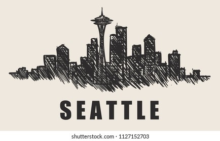 Seattle skyline,hand-drawn vector illustration