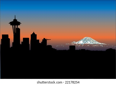 Seattle Space Needle and Mt. Rainier Sunset Silhouette  Scenic View  Vector Illustration. This is a class scenic view from Queen Anne.