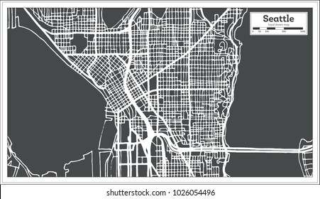 Seattle USA City Map in Retro Style. Outline Map. Vector Illustration.