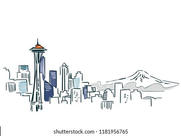 Seattle USA city sketch vector illustration