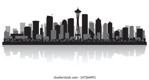 Seattle USA city skyline silhouette vector illustration