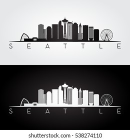 Seattle USA skyline and landmarks silhouette, black and white design, vector illustration.
