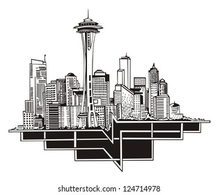 Seattle, WA Skyline. Black and white vector illustration EPS 8.