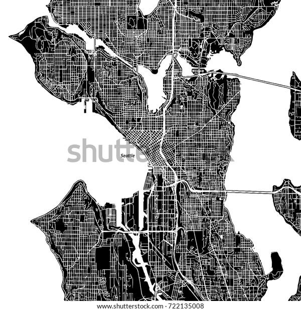 Seattle Washington Downtown Vector Map City Stock Vector