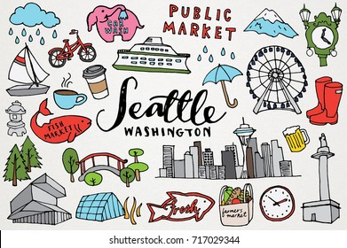 Seattle Washington Monuments & Sights Hand Drawn City Clip Art Set