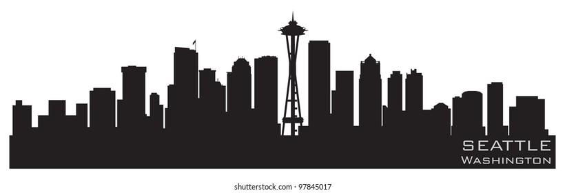 Seattle, Washington skyline. Detailed vector silhouette