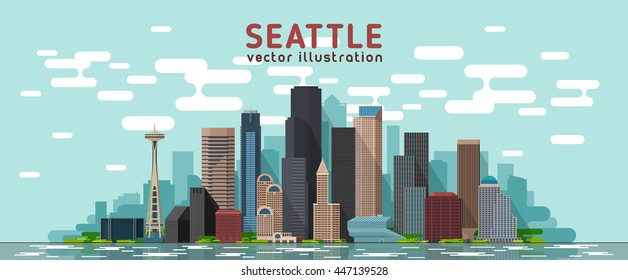 Seattle Washington skyline vector illustration. Background with city panorama. Travel picture.