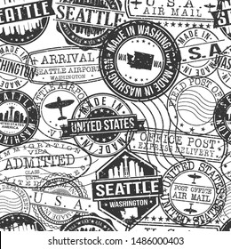 Seattle Washington Stamps. City Stamp Vector Art. Postal Passport Travel. Design Set Pattern.
