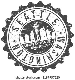 Seattle Washington Travel Stamp Icon City Design Tourism Export Seal