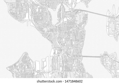Seattle, Washington, USA, bright outlined vector map with bigger and minor roads and steets created for infographic backgrounds.