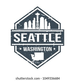Seattle Washington USA Travel Stamp Icon Skyline City Design