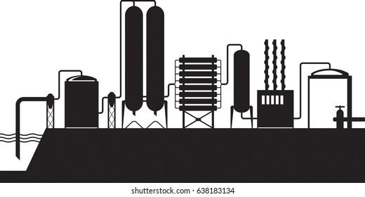 Seawater desalination plant - vector illustration
