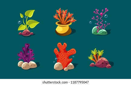 Seaweed, corals and underwater plants set, colorful fantasy plants, user interface assets for mobile apps or video games details vector Illustration