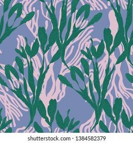 Seaweed underwater floral seamless vector pattern