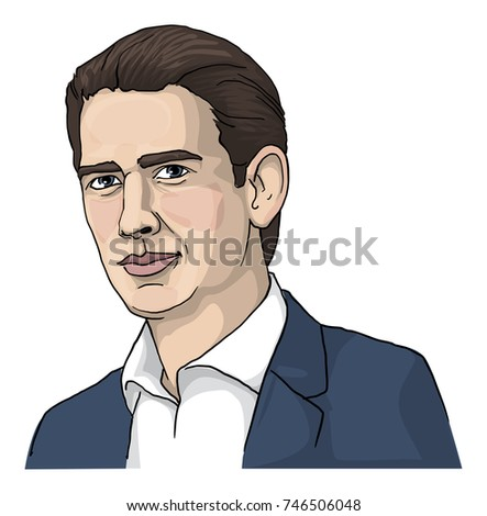 Sebastian Kurz, Austrian politician, chairman of the Austrian People's Party, vector illustration
