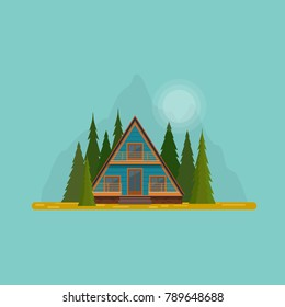Secluded hut in the mountain woods. A-frame cabin house in the middle of fir forest. Flat vector illustration