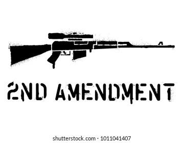 'Second amendment'' quote. Spray paint graffiti stencil. Sniper rifle silhouette.