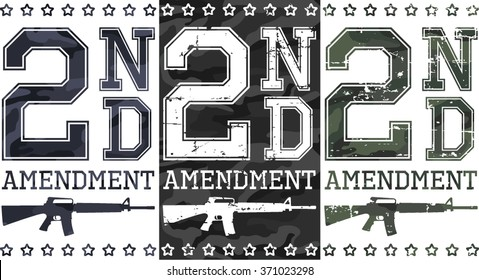 Second amendment (US constitution) artworks for t-shirt, posters... Camouflage and grunge textures.