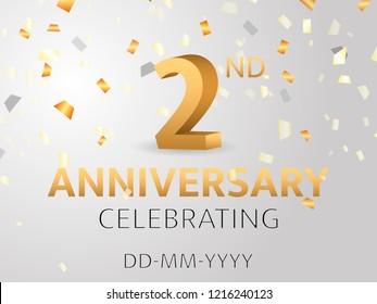 Second Anniversary with golden confetti. Vector illustration