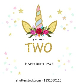 Second birtday. Two. Unicorn Birthday invitation. Party invitation greeting card