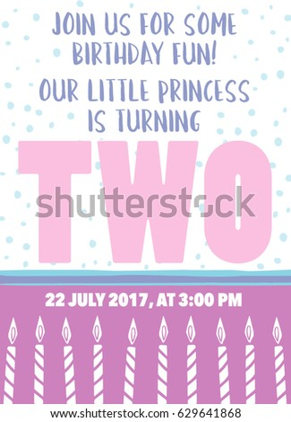 Second Birthday Card For A Two Year Old Purple With Candles And Text Our Little Princess