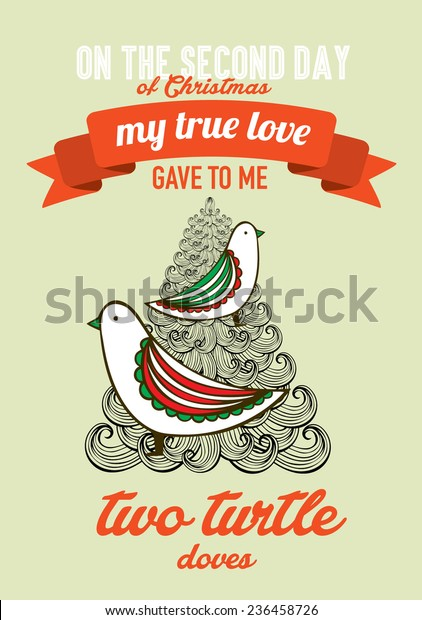 Second Day Of Christmas.Second Day Christmas Twelve Days Christmas Stock Vector