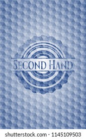 Second Hand blue emblem or badge with abstract geometric pattern background.