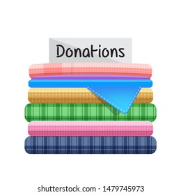 second hand clothes for donations isolated on white background, illustration of donate clothes, pile clothes used old, clip art second hand donated clothes