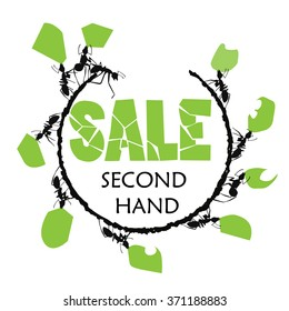 Second hand illustration.SALE. Ants with prey