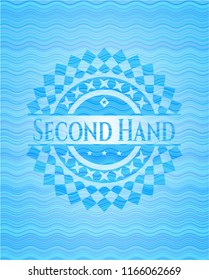 Second Hand sky blue water emblem background.