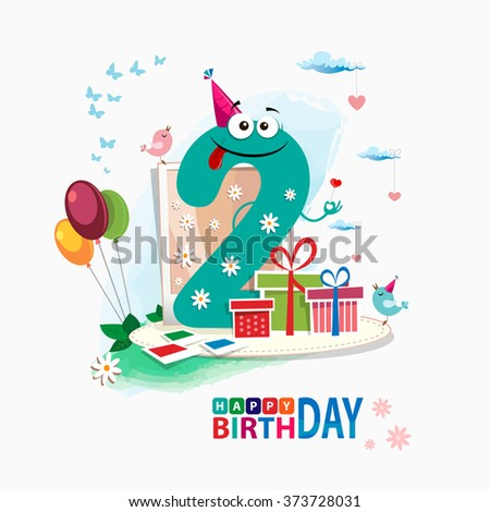 Second Happy Birthday Card Third Vector With Gift Box And Balloons