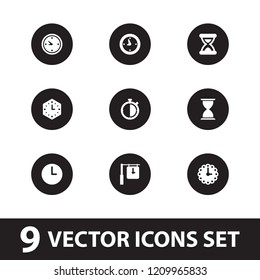 Second icon. collection of 9 second filled icons such as clock, wall clock, stopwatch. editable second icons for web and mobile.