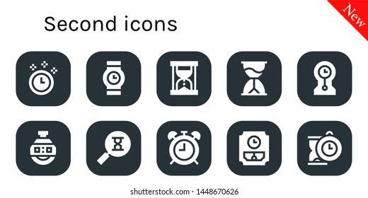 second icon set. 10 filled second icons.  Collection Of - Time, Wristwatch, Hourglass, Clocks, Stopclock, Sandclock, Alarma clock, Wall clock, Clock