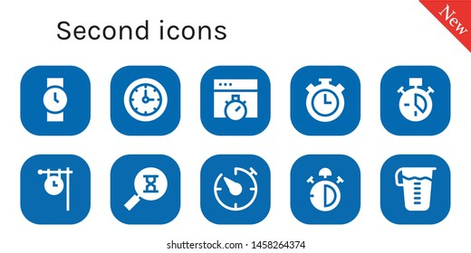 second icon set. 10 filled second icons.  Collection Of - Wristwatch, Clocks, Chronometer, Stopwatch, Clock, Sandclock, Timer, Stop watch, Measuring glass
