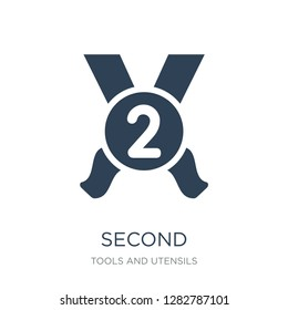 second icon vector on white background, second trendy filled icons from Tools and utensils collection, second vector illustration