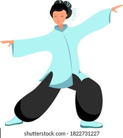 The second illustration of a girl performs qigong and kung fu exercises