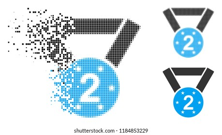 Second medal icon in dispersed, dotted halftone and original variants. Points are combined into vector disappearing second medal icon. Disappearing effect uses rectangle scintillas.