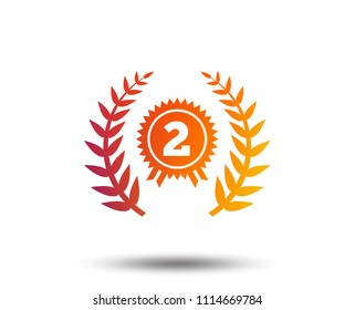 Second place award sign icon. Prize for winner symbol. Laurel Wreath. Blurred gradient design element. Vivid graphic flat icon. Vector