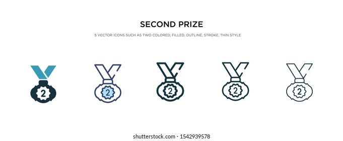 second prize icon in different style vector illustration. two colored and black second prize vector icons designed in filled, outline, line and stroke style can be used for web, mobile, ui