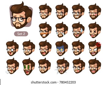 The second set of bearded hipster facial emotions cartoon character design with glasses and different expressions, sad, tired, angry, die, mercenary, disappointed, shocked, tasty, etc. vector.